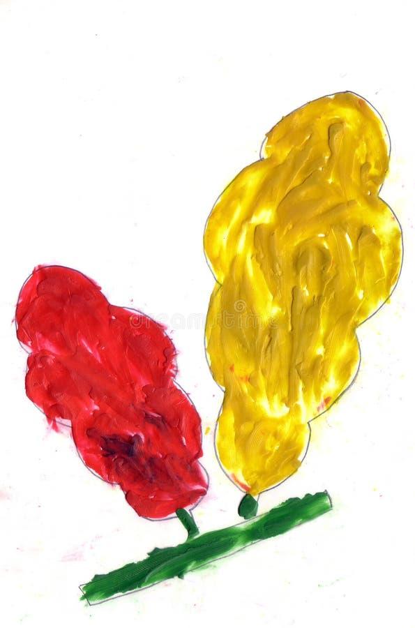 Ребенок рисуя красные и желтые деревья бесплатная иллюстрация