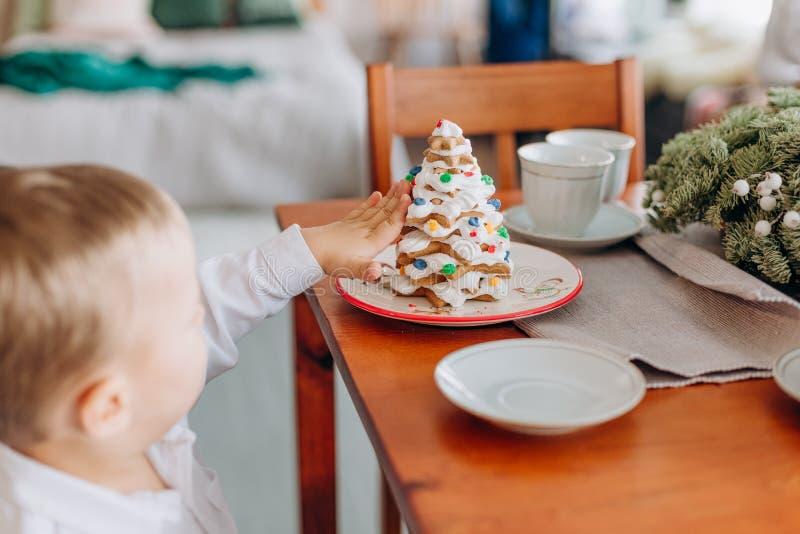 Ребенок рождества Нового Года праздника ест очень вкусный торт стоковое фото
