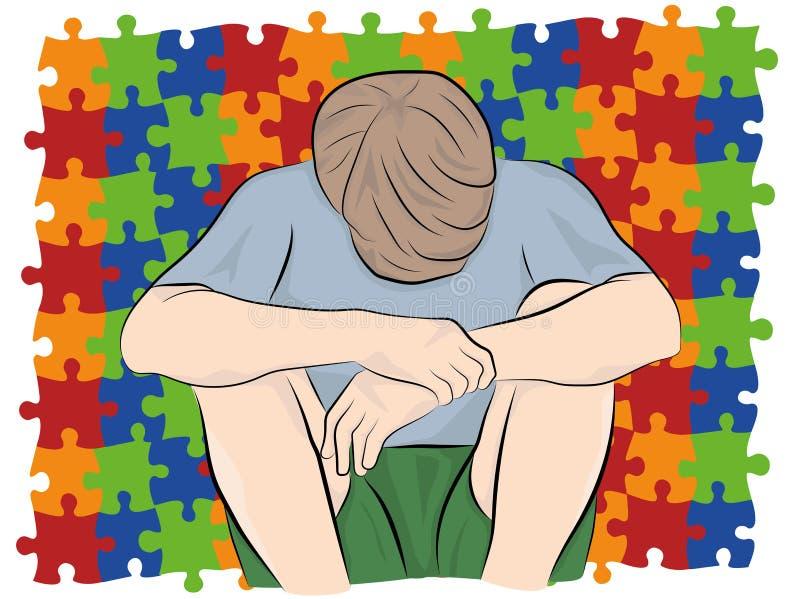 Ребенок сидит с его головой вниз на фоне головоломок, символы аутизма также вектор иллюстрации притяжки corel бесплатная иллюстрация