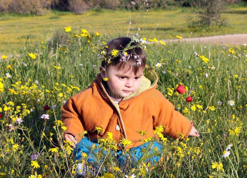 Ребенок сидит в луге стоковые изображения rf
