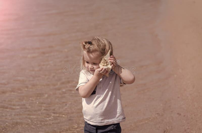 Ребенок слушает к seashell на солнечный день стоковые изображения rf