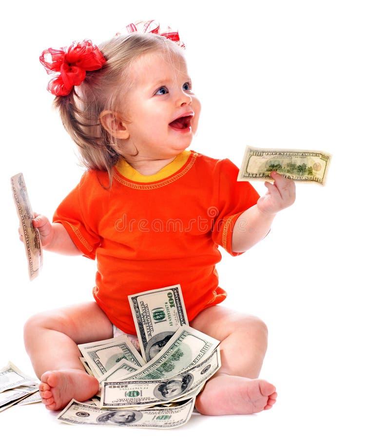 Ребенок с деньгами евро. стоковая фотография rf