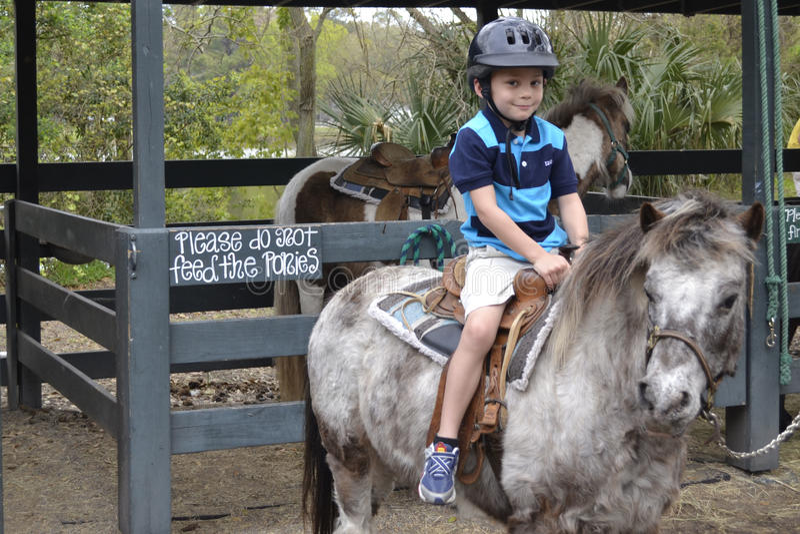 Ребенок с пониом стоковая фотография rf