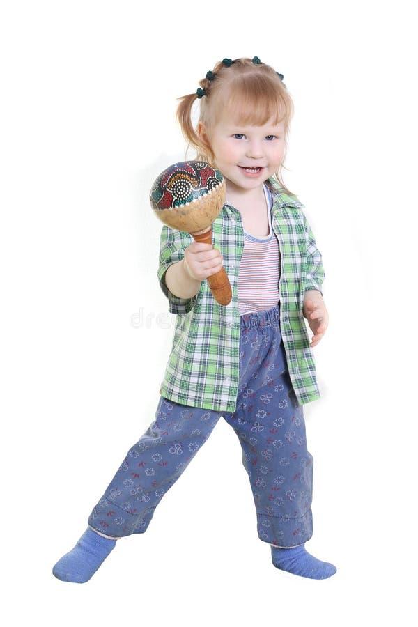 Ребенок с maracas стоковое фото rf