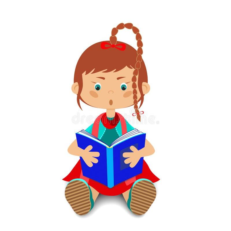 Ребенок читает книгу иллюстрация вектора
