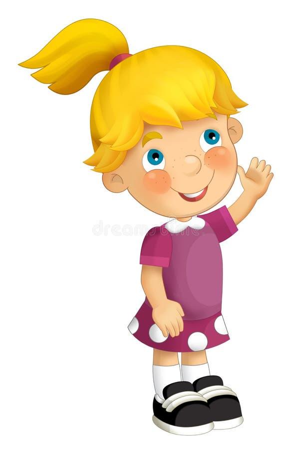 Ребенок шаржа имея потеху иллюстрация вектора