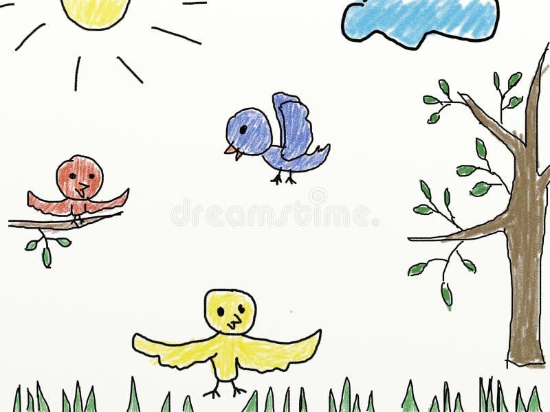Ребенок любит рисовать птиц иллюстрация вектора