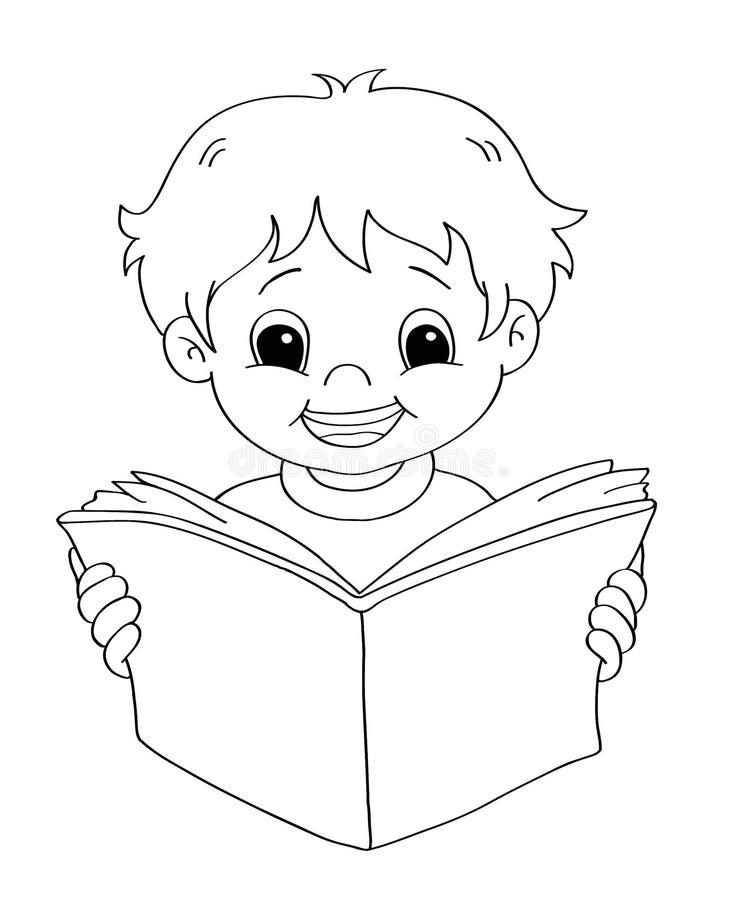 ребенок bw читает бесплатная иллюстрация
