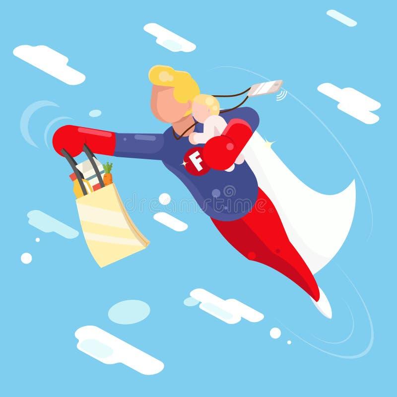 Ребенок clowds неба летания отца супергероя современный в иллюстрации вектора дизайна характера руки плоской иллюстрация вектора