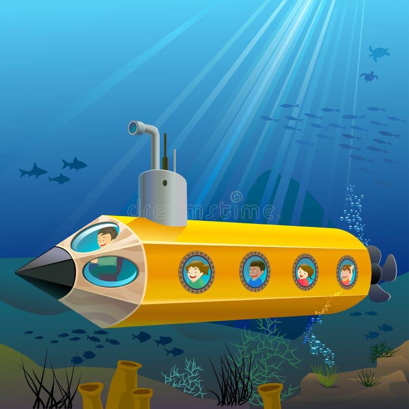 Ребеята школьного возраста наслаждаясь ездой Und подводной лодки карандаша бесплатная иллюстрация