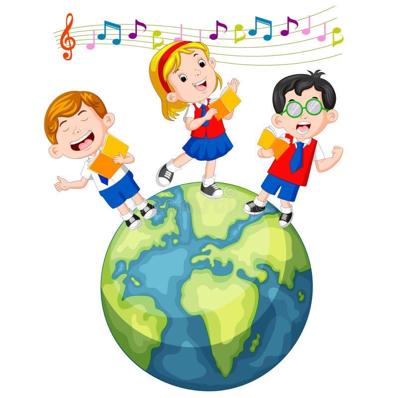 Ребеята школьного возраста поя на глобусе иллюстрация штока