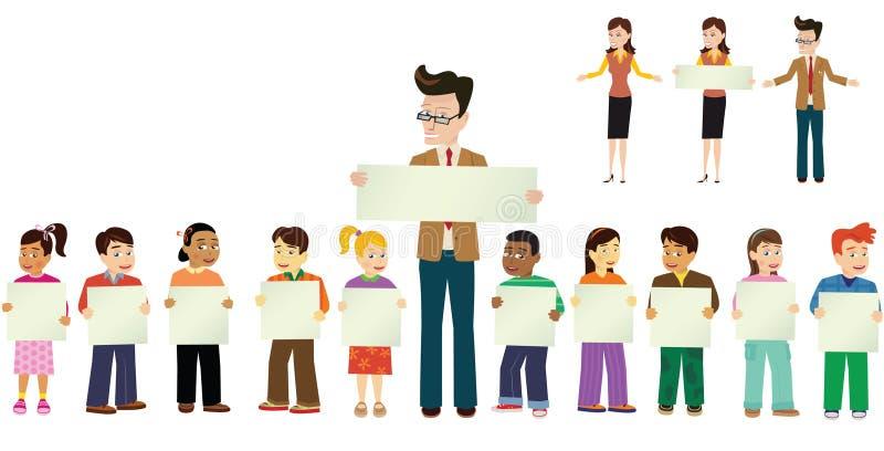 Ребеята школьного возраста и учителя иллюстрация вектора