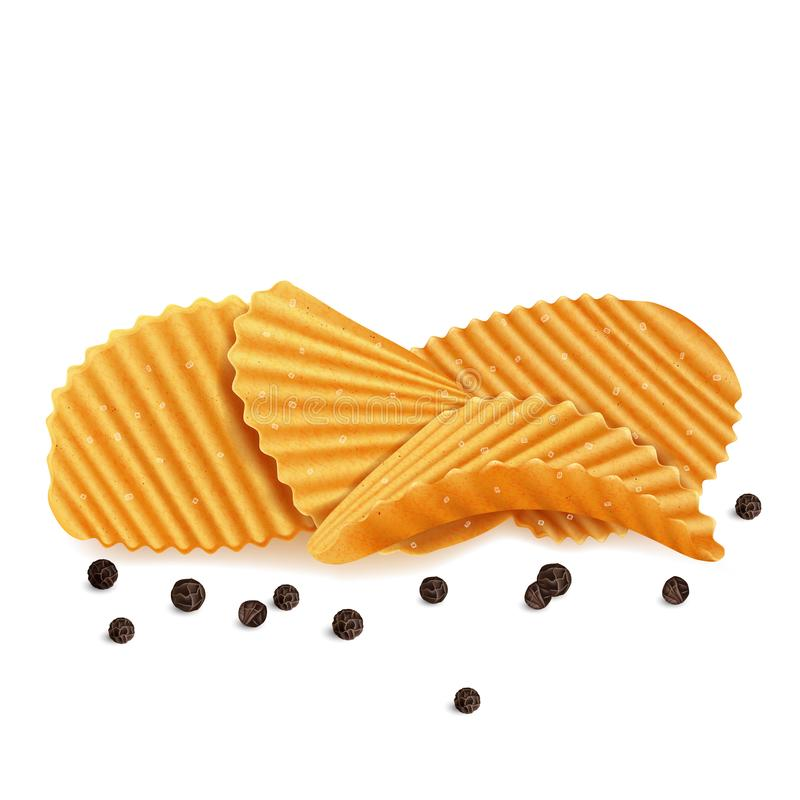Ребристые картофельные стружки с солью и черным перцем иллюстрация вектора
