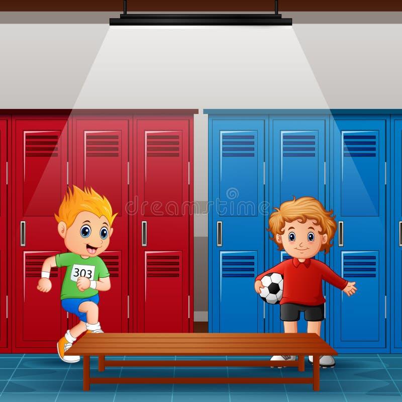 Ребята школьного возраста в раздевалке после деятельности иллюстрация штока