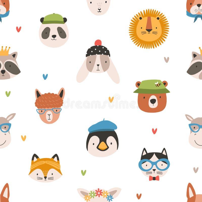 Ребяческая безшовная картина с милыми смешными сторонами прелестных животных Фон со счастливыми намордниками на белой предпосылке бесплатная иллюстрация