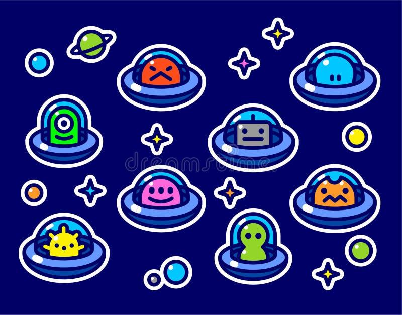 Ребяческие стикеры установленные с чужеземцами UFO иллюстрация штока