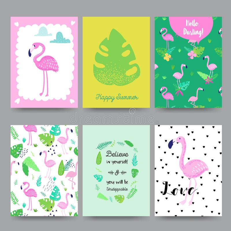 Ребяческий тропический дизайн лета с милыми фламинго, ладонями и цветками Экзотический комплект карточек птицы для приглашения дн иллюстрация штока