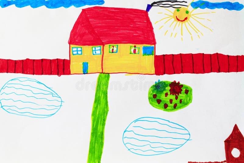 Ребяческий чертеж бассейнов и цветника дома иллюстрация штока
