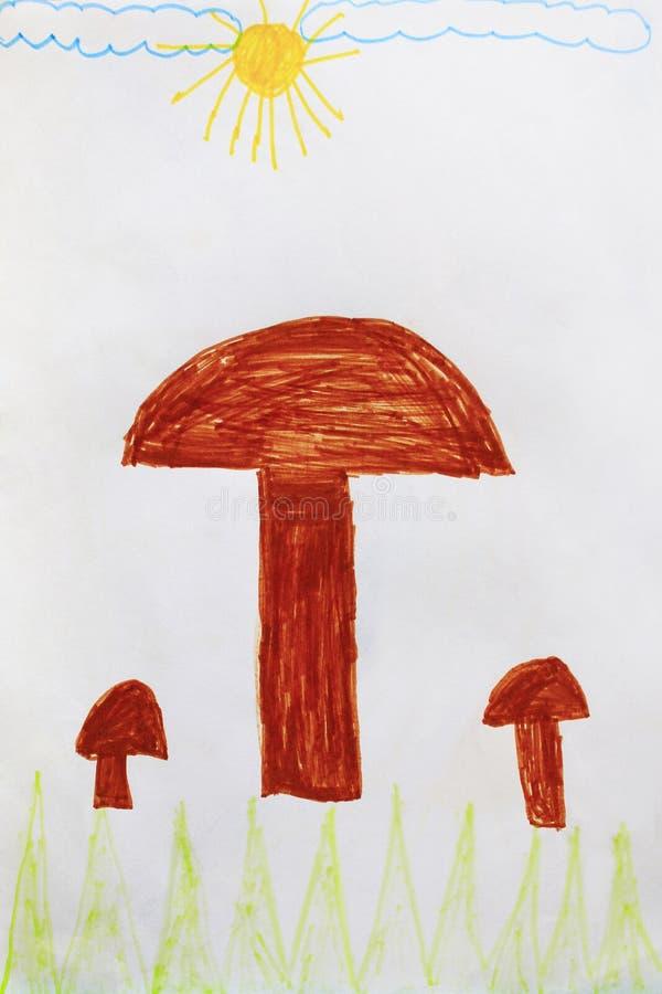 Ребяческий чертеж коричневых грибов иллюстрация вектора