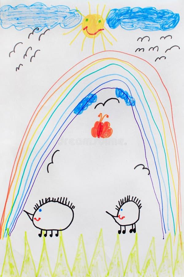 Ребяческий чертеж смешных ежей и солнца радуги бесплатная иллюстрация