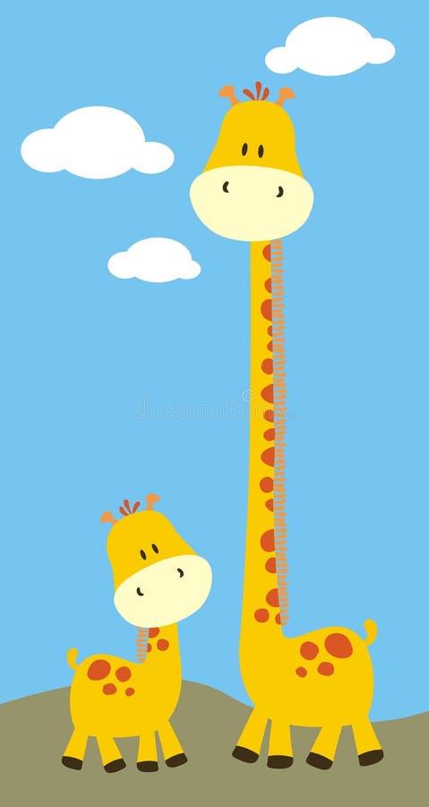ребяческое сафари giraffes иллюстрация вектора