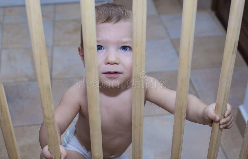 Ребёнок за деревянным стробом безопасности лестниц стоковое изображение