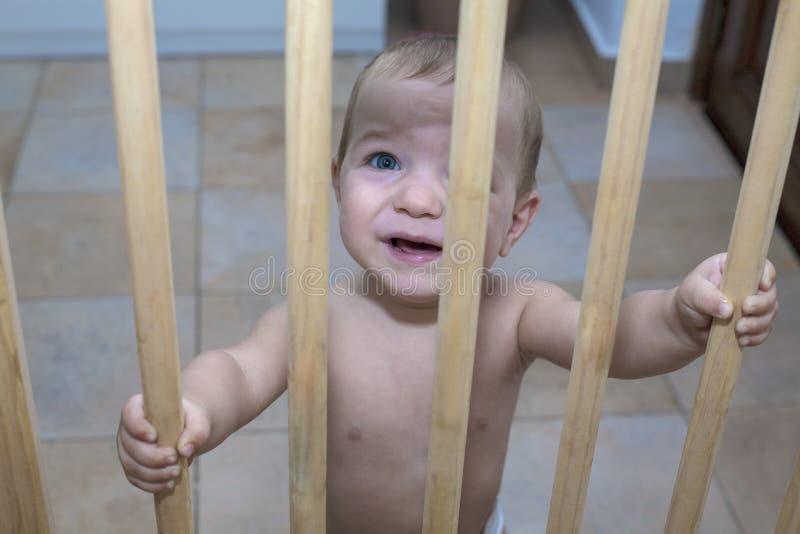 Ребёнок за деревянным стробом безопасности лестниц стоковые изображения rf