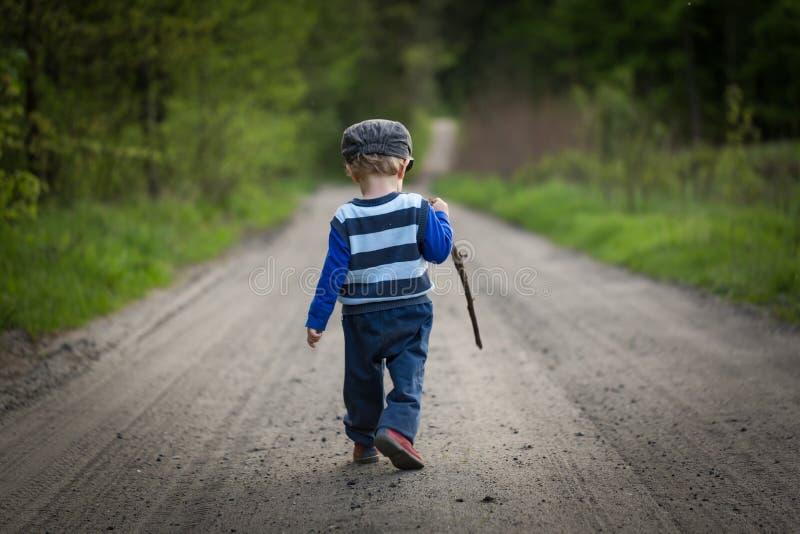 Ребёнок играя в лесе стоковое изображение rf