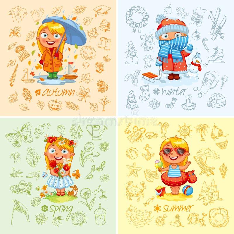 Ребёнок и 4 сезона иллюстрация вектора
