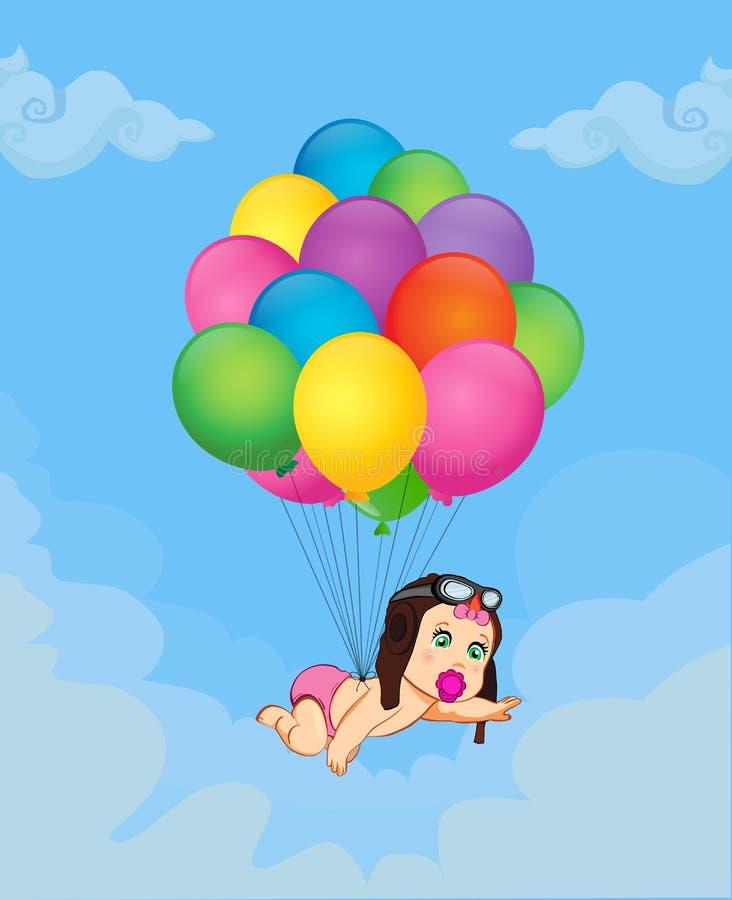 Ребёнок падая вниз на пук гелия раздувает в небе бесплатная иллюстрация