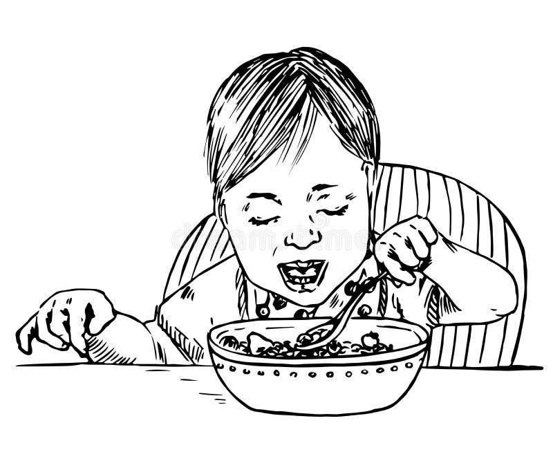 Ребёнок сидя и есть каша, ложка в руке иллюстрация вектора