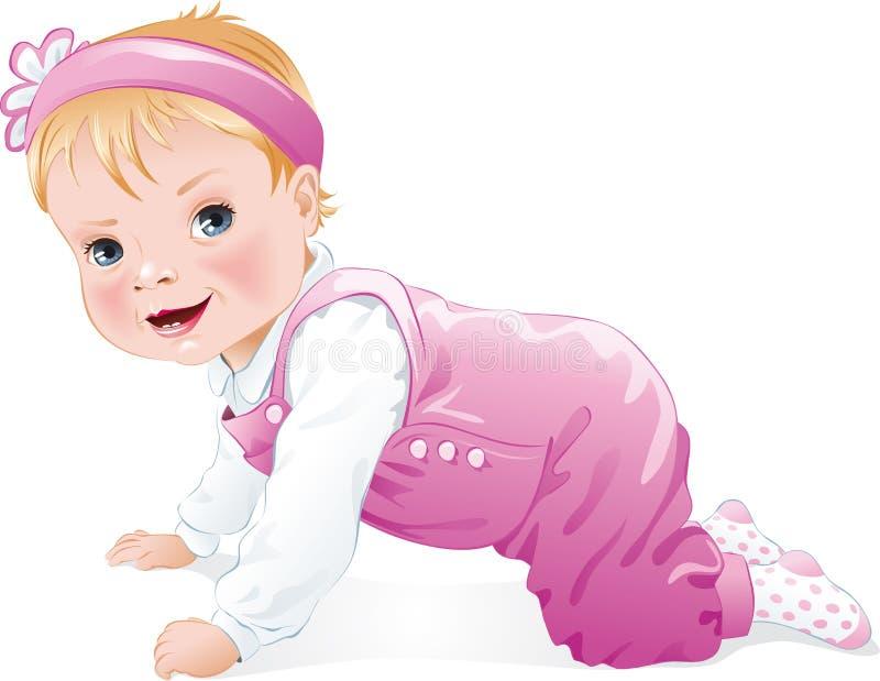 Ребёнок усмехаясь и изолированный вползая, иллюстрация вектора