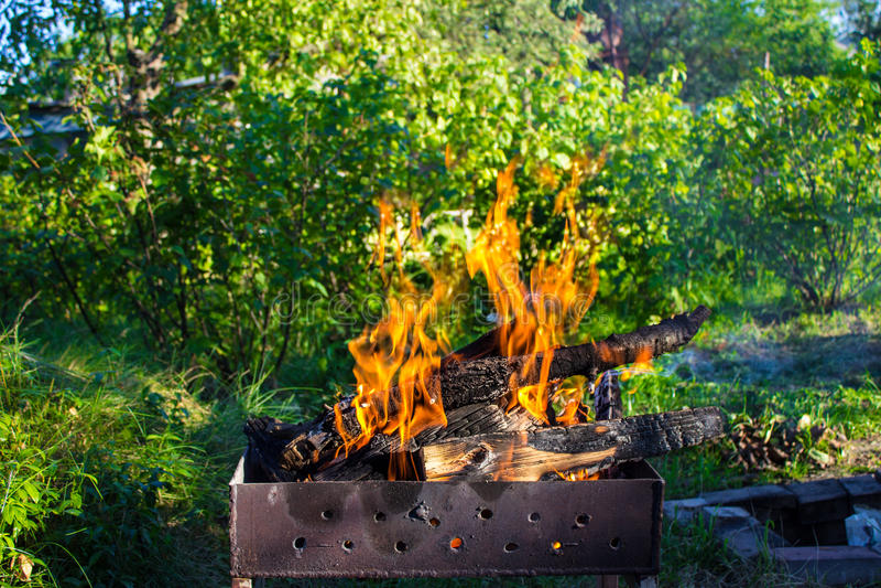 древесина медника горящая Сильный огонь в гриле стоковые изображения rf