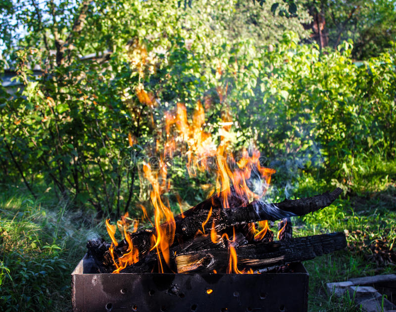 древесина медника горящая Сильный огонь в гриле стоковая фотография rf