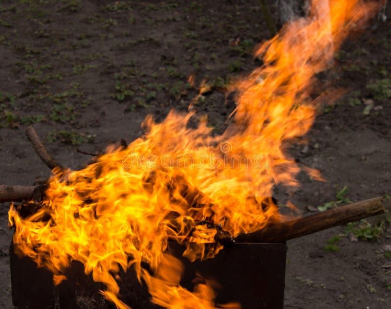 древесина медника горящая Сильный огонь в гриле стоковое изображение