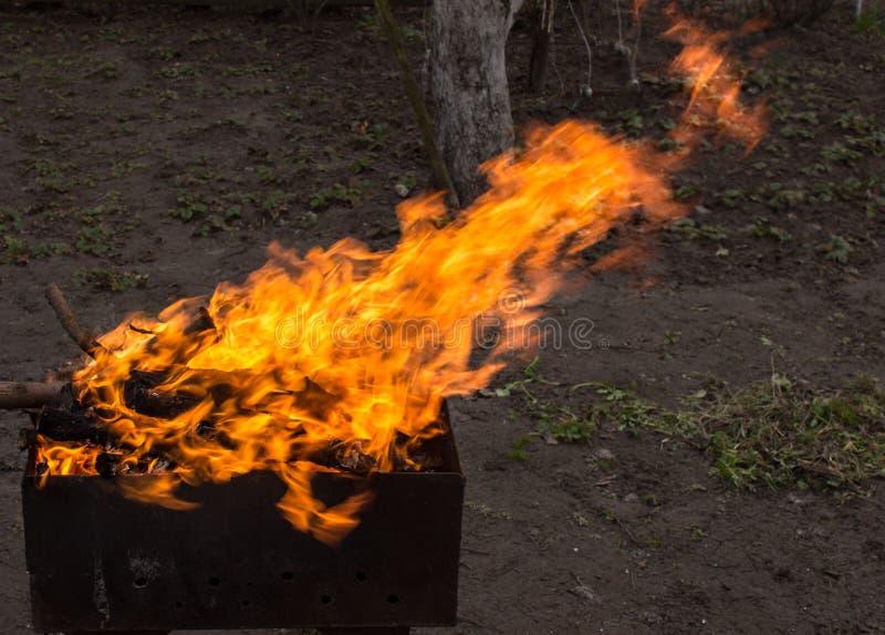 древесина медника горящая Сильный огонь в гриле стоковое фото rf
