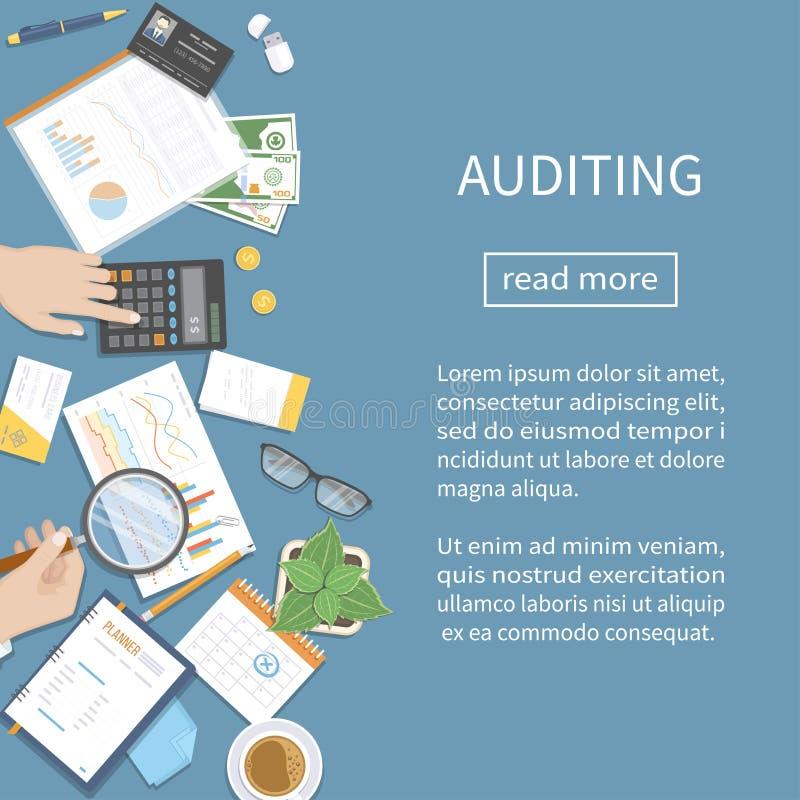 Ревизовать, учитывая, анализ, аналитик Аудитор проверяет финансовые документы Руки бизнесмена с лупой иллюстрация штока