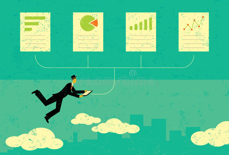 Ревизовать финансовые документы иллюстрация вектора