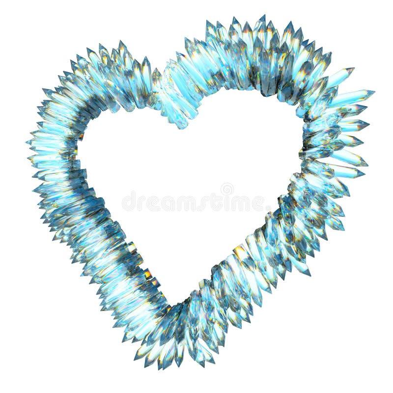 Ревность и острая влюбленность: кристаллическая изолированная форма сердца иллюстрация штока