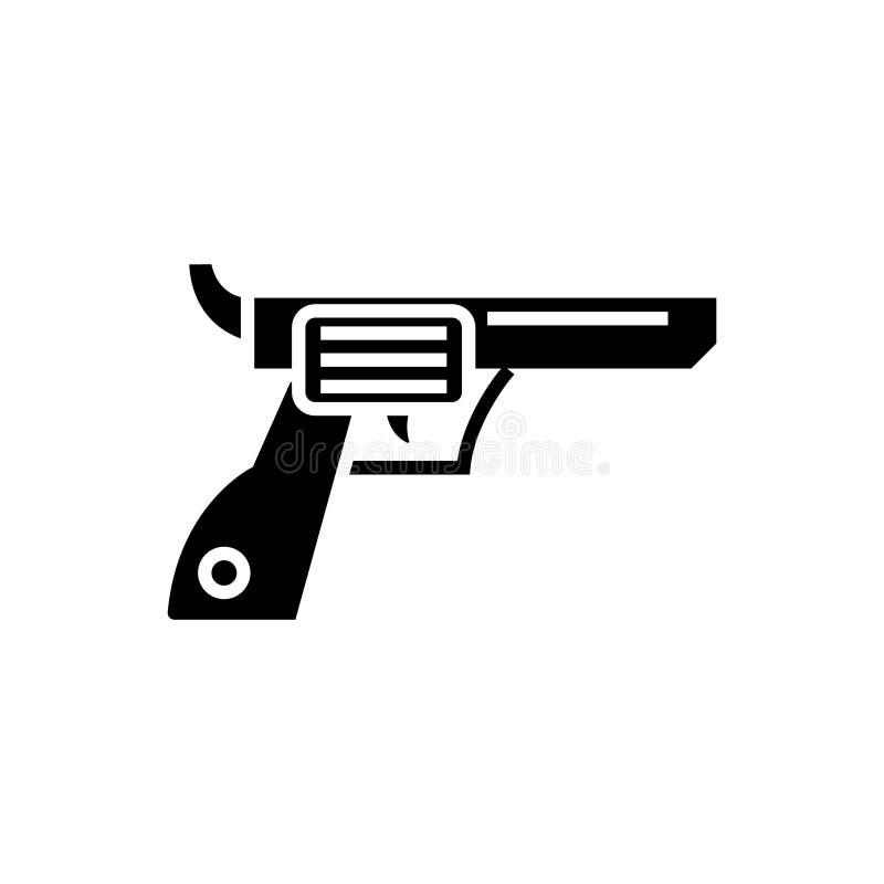 Револьвер - оружие - значок ковбоя, иллюстрация вектора, черный знак на изолированной предпосылке бесплатная иллюстрация