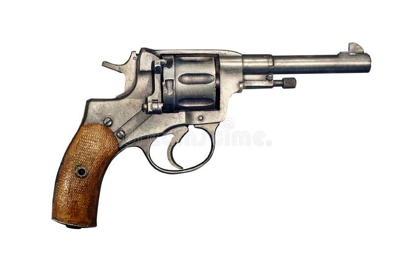 Револьвер пистолета изолированный на белой предпосылке стоковое изображение