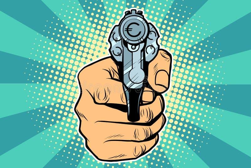 Револьвер финансов денег валюты евро в руке иллюстрация штока