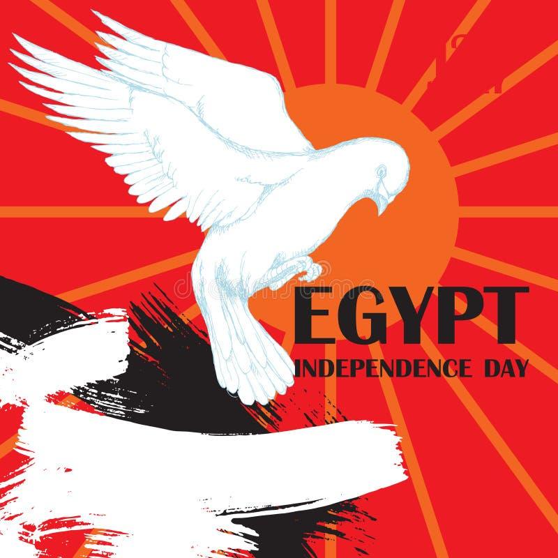 Революция дня в Египте 23-ье июля День национальной независимости в Африке Белый голубь в полете для украшения  иллюстрация вектора