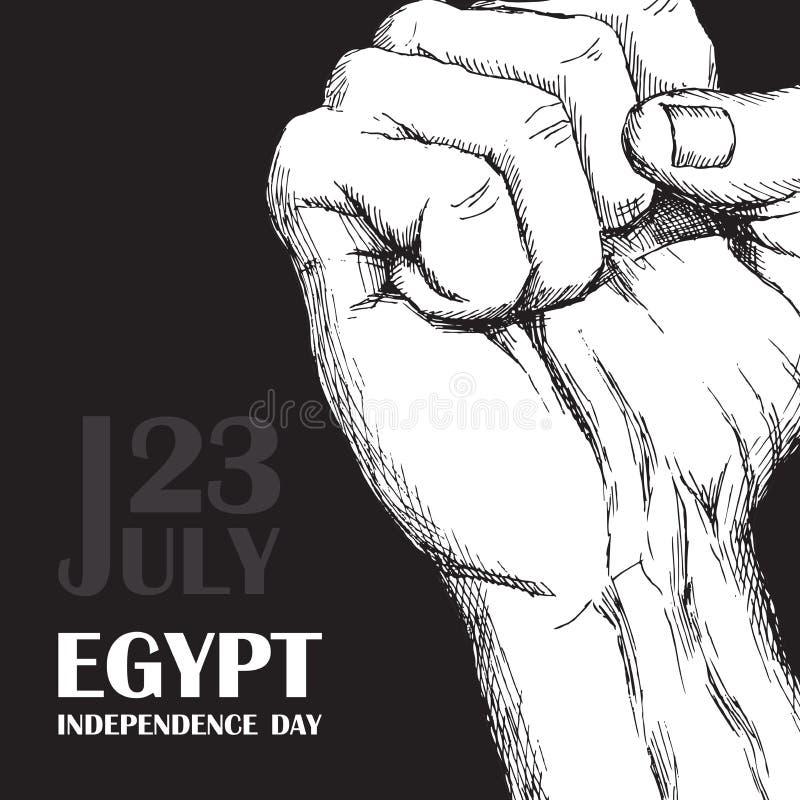 Революция дня в Египте 23-ье июля День национальной независимости в Африке Рука обхваченная в кулаке на черной предпосылке Рука бесплатная иллюстрация