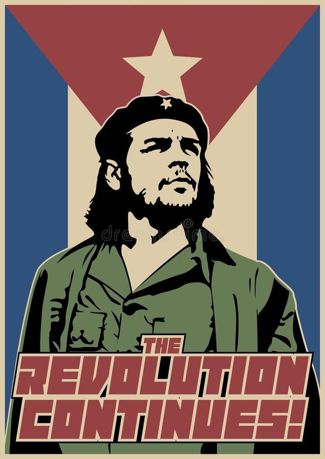 Революция продолжается! Винтажный плакат пропаганды стоковые фото