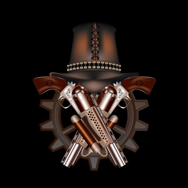 2 револьверы и шляпы steampunk иллюстрация штока