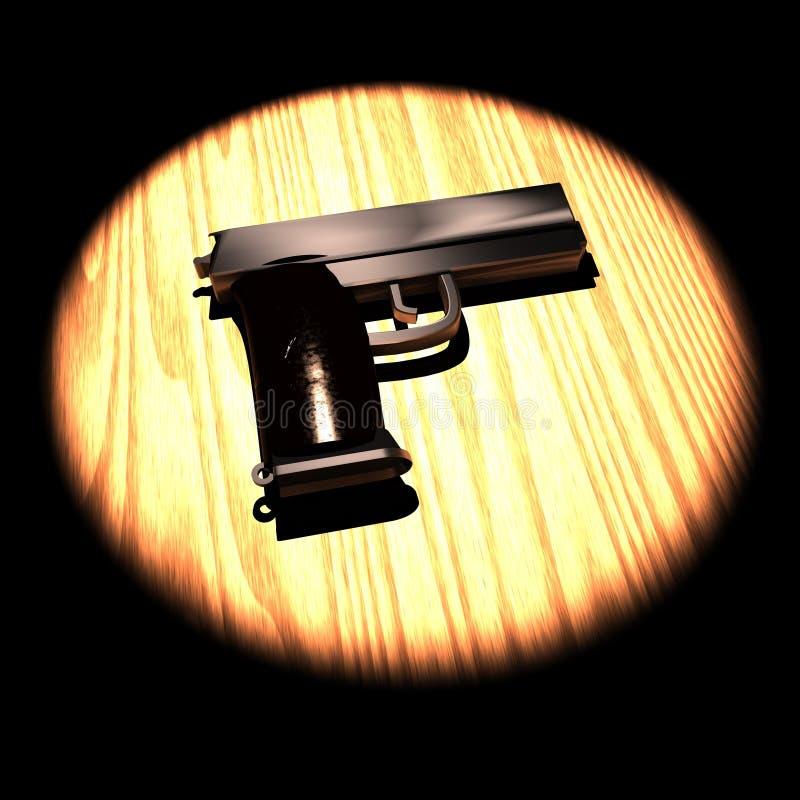 Револьвер над таблицей в фаре иллюстрация штока