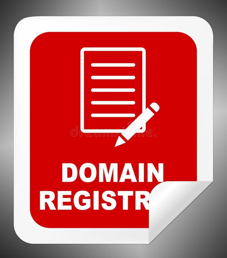 Регистрация домена показывает подписывает вверх иллюстрацию 3d иллюстрация штока