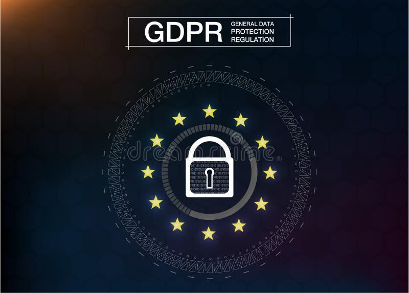 Регулировка защиты данных GDPR-генерала Безопасность и уединение кибер иллюстрация штока