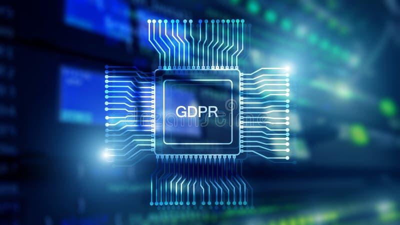 Регулировка защиты данных GDPR общая Абстрактная комната сервера двойной экспозиции Голубая предпосылка технологии стоковые фотографии rf